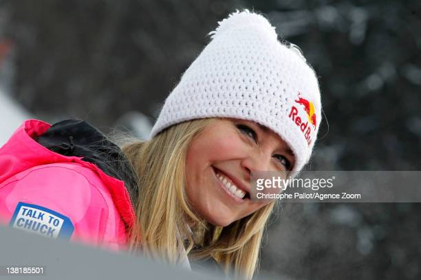 Lindsey Vonn of the USA takes 1st place during the Audi FIS Alpine Ski World Cup Women's Downhill on February 4 2012 in GarmischPartenkirchen Germany