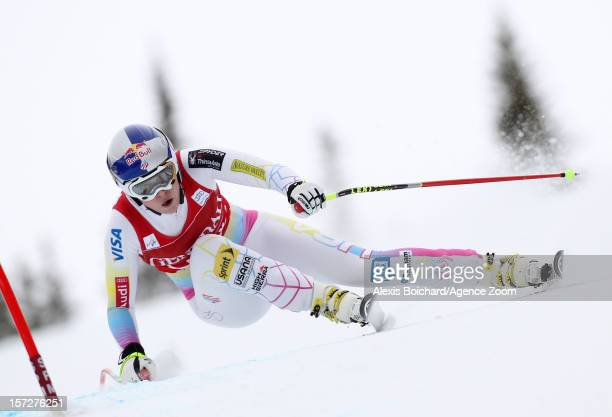 Lindsey Vonn of the USA takes 1st place during the Audi FIS Alpine Ski World Cup Women's Downhill on December 1 2012 in Lake Louise Canada
