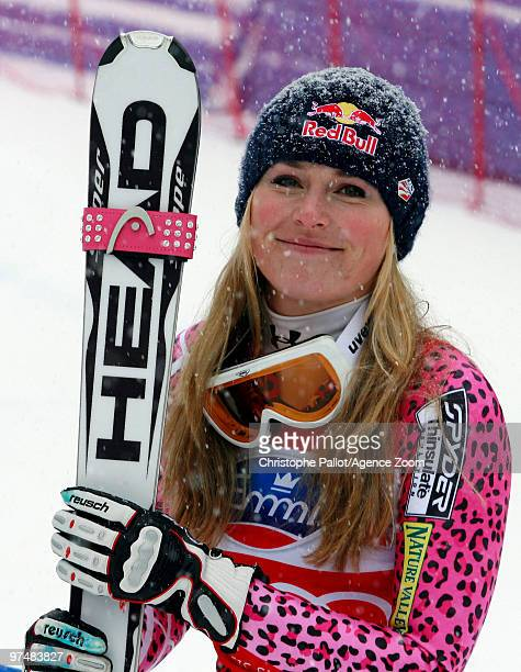Lindsey Vonn of the USA takes 1st place during the Audi FIS Alpine Ski World Cup Women's Downhill on March 6 2010 in Crans Montana Switzerland