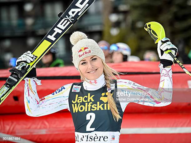Lindsey Vonn of the USA takes 2nd place during the Audi FIS Alpine Ski World Cup Women's Combined on December 18 2015 in Val d'Isere France