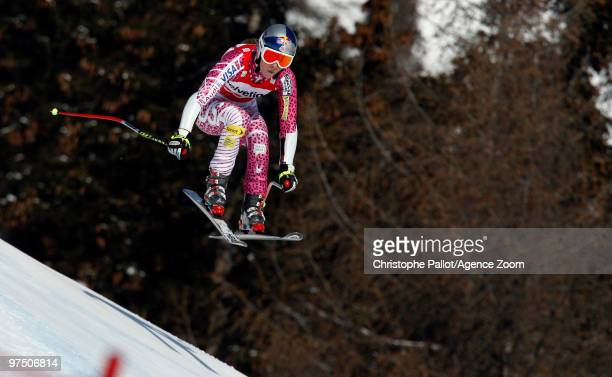 Lindsey Vonn of the USA takes 2nd place during the Audi FIS Alpine Ski World Cup Women's Super G on March 7, 2010 in Crans Montana, Switzerland.