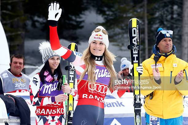 Lindsey Vonn of the USA takes 3rd place during the Audi FIS Alpine Ski World Cup Women's Super G on March 02 2015 in Bansko Bulgaria