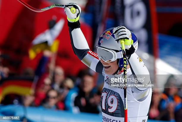 Lindsey Vonn of the USA takes the 1st place during the Audi FIS Alpine Ski World Cup Women's Super G on March 08 2015 in GarmischPartenkirchen Germany