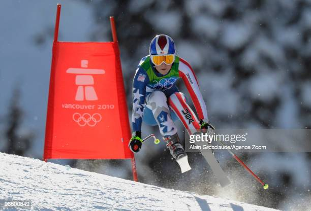 Lindsey Vonn of the USA takes the Gold Medal during the Women's Alpine Skiing Downhill on Day 6 of the 2010 Vancouver Winter Olympic Games on...