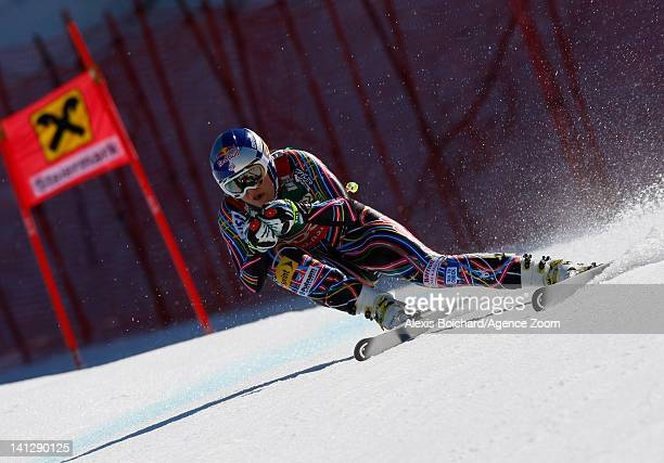 Lindsey Vonn of the USA takes the Overall Downhill World Cup globe during the Audi FIS Alpine Ski World Cup Women's Downhill on March 14 2012 in...