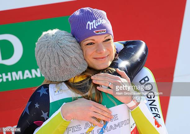 Lindsey Vonn of the USA takes the silver medal Maria Riesch of Germany takes the bronze medal during the FIS Alpine World Ski Championships Women's...
