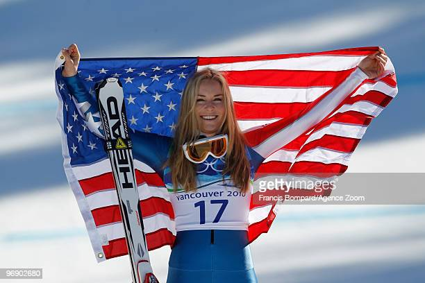 Lindsey Vonn of the USA wins the bronze medal during the Women's Alpine Skiing SuperG on Day 9 of the 2010 Vancouver Winter Olympic Games on February...
