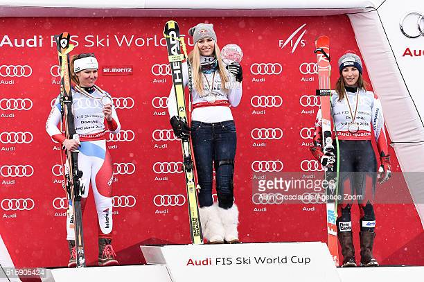 Lindsey Vonn of the USA wins the downhill crystal globe Fabienne Suter of Switzerland takes 2nd place in the race and the overall downhill standings...