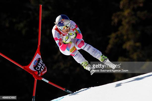 Lindsey Vonn of the USA wins the race and the overall World Cup downhill globe during the Audi FIS Alpine Ski World Cup Finals Women's Downhill on...