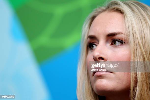 Lindsey Vonn of the USA Women's Alpine Skiing looks on during a press conference where she announced she may not compete in the Vancouver 2010 Winter...