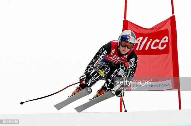 Lindsey Vonn of United States takes 1st place during the Women's Downhill event at the Alpine FIS Skiing World Cup on March 8 2008 in Crans Montana...