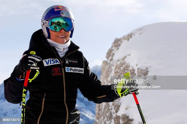 Lindsey Vonn of USA A general view during the Audi FIS Alpine Ski World Cup Women's Downhill Training on January 18 2018 in Cortina d'Ampezzo Italy