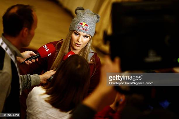 Lindsey Vonn of USA at a press conference during the Audi FIS Alpine Ski World Cup Women's Downhill Training on January 12 2017 in...