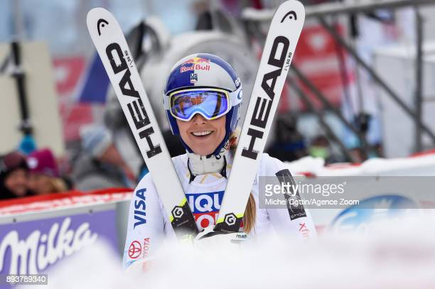 Lindsey Vonn of USA celebrates during the Audi FIS Alpine Ski World Cup Women's Super G on December 16 2017 in Vald'Isere France
