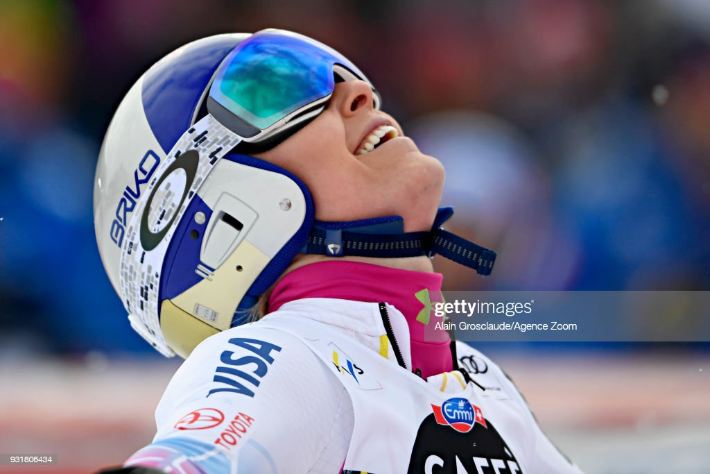 Lindsey Vonn of USA celebrates during the Audi FIS Alpine Ski World Cup Finals Men's and Women's Downhill on March 14, 2018 in Are, Sweden.
