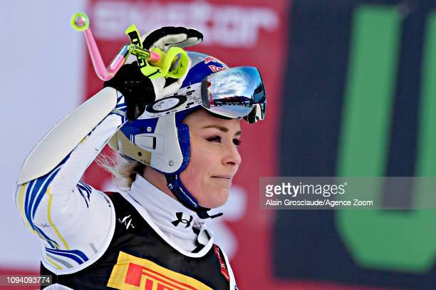 Lindsey Vonn of USA celebrates during the FIS World Ski Championships Women's Super G on February 5 2019 in Are Sweden