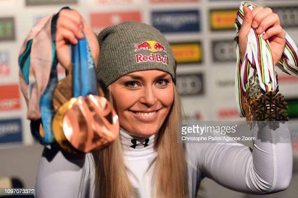 Lindsey Vonn of USA celebrates during the FIS World Ski Championships Women's Downhill on February 10 2019 in Are Sweden