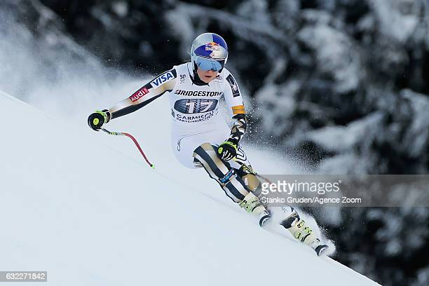 Lindsey Vonn of USA competes during the Audi FIS Alpine Ski World Cup Women's Downhill on January 21 2017 in GarmischPartenkirchen Germany