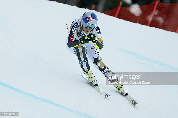 Lindsey Vonn of USA competes during the Audi FIS Alpine Ski World Cup Women's SuperG on January 22 2017 in GarmischPartenkirchen Germany