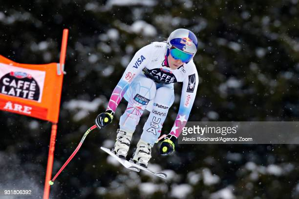 Lindsey Vonn of USA competes during the Audi FIS Alpine Ski World Cup Finals Men's and Women's Downhill on March 14 2018 in Are Sweden