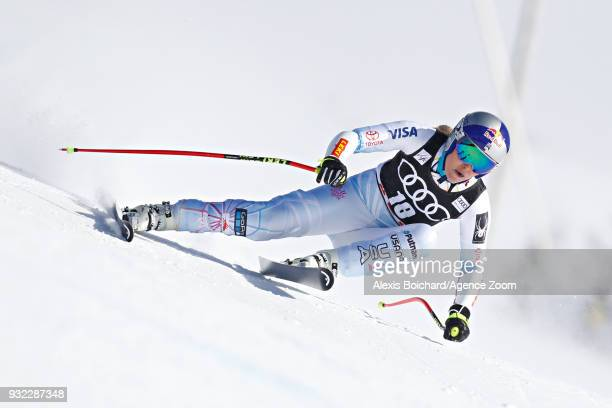 Lindsey Vonn of USA competes during the Audi FIS Alpine Ski World Cup Finals Men's and Women's Super G on March 15 2018 in Are Sweden