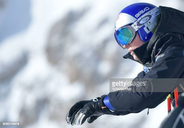 Lindsey Vonn of USA concentrates during a training session on the eve of the FIS Alpine World Cup Women's Downhill replaces Val d'Isere event on...