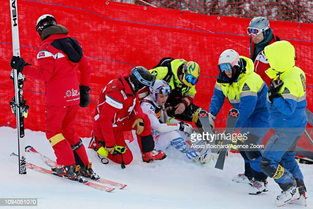 Lindsey Vonn of USA crashes out during the FIS World Ski Championships Women's Super G on February 5 2019 in Are Sweden