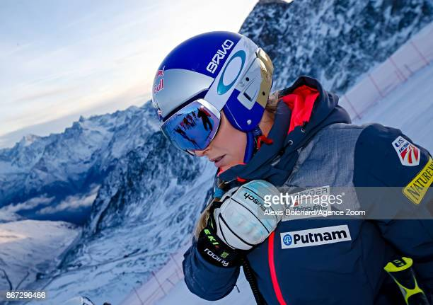 Lindsey Vonn of USA during the inspection of the Audi FIS Alpine Ski World Cup Women's Giant Slalom on October 28 2017 in Soelden Austria