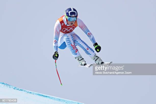 Lindsey Vonn of USA in action during the Alpine Skiing Women's Downhill at Jeongseon Alpine Centre on February 21 2018 in Pyeongchanggun South Korea