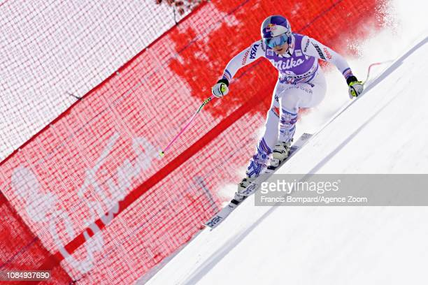 Lindsey Vonn of USA in action during the Audi FIS Alpine Ski World Cup Women's Downhill on January 19 2019 in Cortina d'Ampezzo Italy