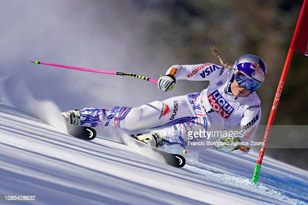 Lindsey Vonn of USA in action during the Audi FIS Alpine Ski World Cup Women's Super G on January 20 2019 in Cortina d'Ampezzo Italy