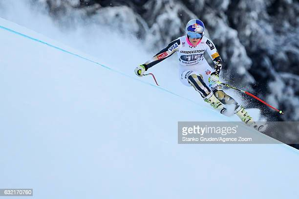 Lindsey Vonn of USA in action during the Audi FIS Alpine Ski World Cup Women's Downhill Training on January 20 2017 in GarmischPartenkirchen Germany