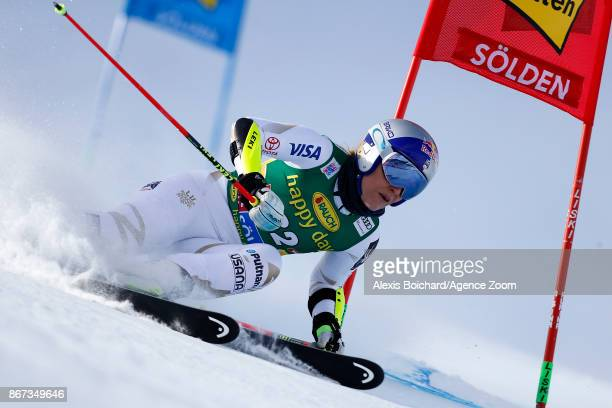 Lindsey Vonn of USA in action during the Audi FIS Alpine Ski World Cup Women's Giant Slalom on October 28 2017 in Soelden Austria