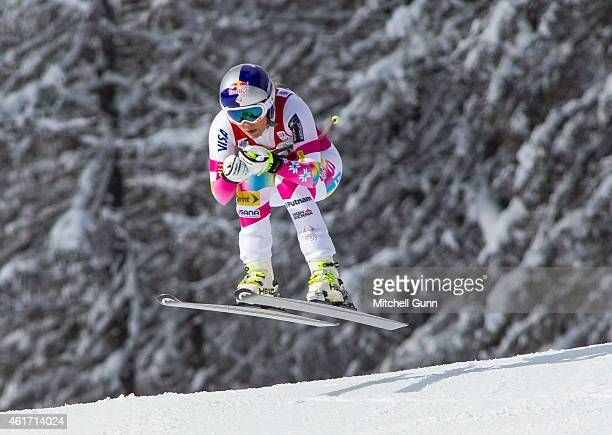 Lindsey Vonn of USA in action during the FIS Alpine Ski World Cup Women's downhill race on January 18 2015 in Cortina d'Ampezzo Italy