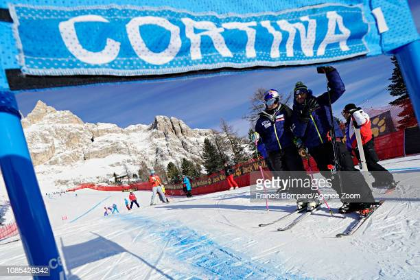 Lindsey Vonn of USA inspects the course during the Audi FIS Alpine Ski World Cup Women's Super G on January 20 2019 in Cortina d'Ampezzo Italy