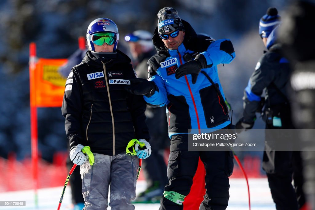 Lindsey Vonn of USA inspects the course during the Audi FIS Alpine Ski World Cup Women's Downhill Training on January 12, 2018 in Bad Kleinkirchheim, Austria.