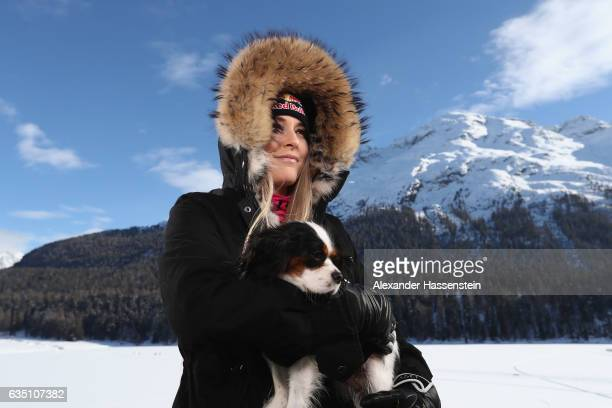 Lindsey Vonn of USA poses during a photocall with her dog Lucy at Hotel Waldhaus am See on February 13 2017 in St Moritz Switzerland