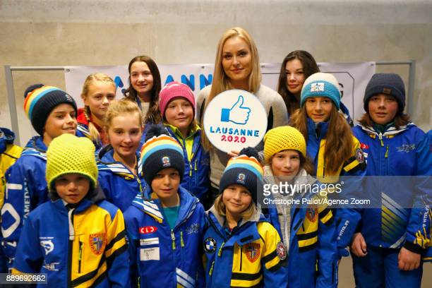 Lindsey Vonn of USA speaks with children during a press conferenceShe will be ambassador for the Winter Youth Olympic Games of Lausanne 2020 on...