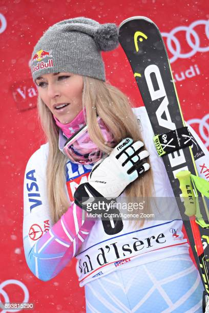 Lindsey Vonn of USA takes 1st place during the Audi FIS Alpine Ski World Cup Women's Super G on December 16 2017 in Vald'Isere France