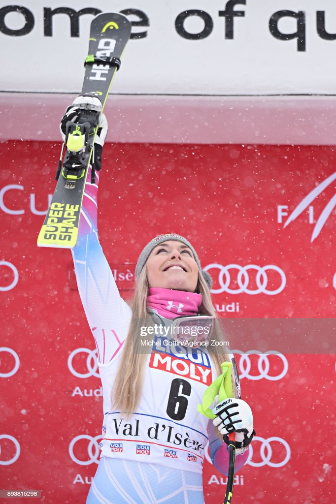 Lindsey Vonn of USA takes 1st place during the Audi FIS Alpine Ski World Cup Women's Super G on December 16, 2017 in Val-d'Isere, France.