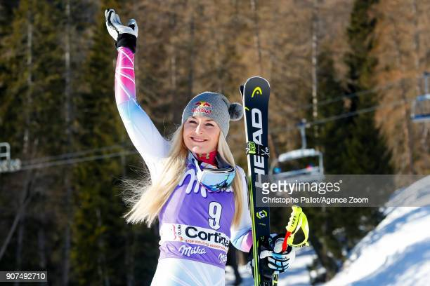 Lindsey Vonn of USA takes 1st place during the Audi FIS Alpine Ski World Cup Women's Downhill on January 20 2018 in Cortina d'Ampezzo Italy