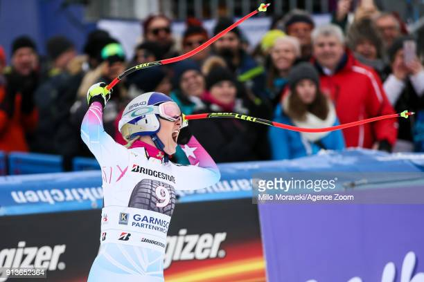 Lindsey Vonn of USA takes 1st place during the Audi FIS Alpine Ski World Cup Women's Downhill on February 3 2018 in GarmischPartenkirchen Germany