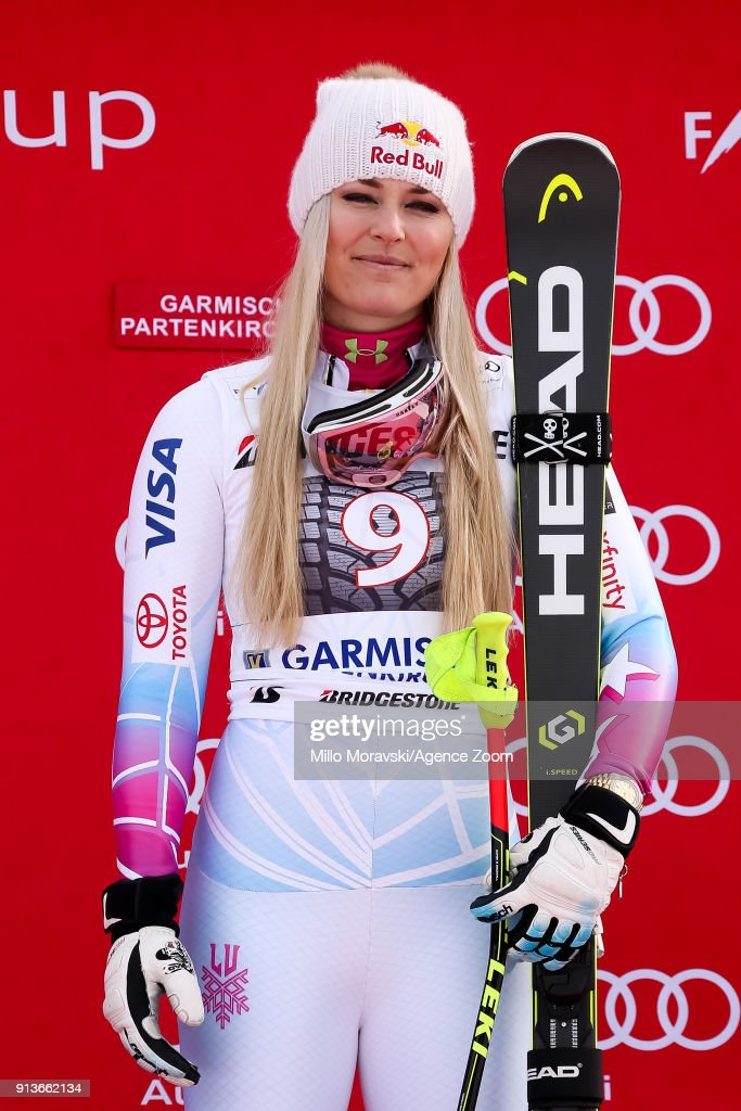 Lindsey Vonn of USA takes 1st place during the Audi FIS Alpine Ski World Cup Women's Downhill on February 3, 2018 in Garmisch-Partenkirchen, Germany.