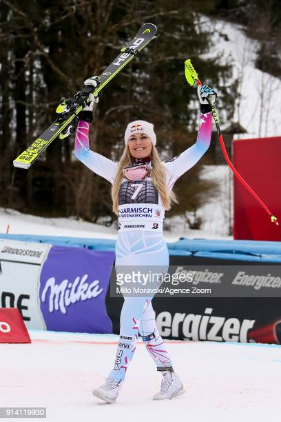Lindsey Vonn of USA takes 1st place during the Audi FIS Alpine Ski World Cup Women's Downhill on February 4 2018 in GarmischPartenkirchen Germany