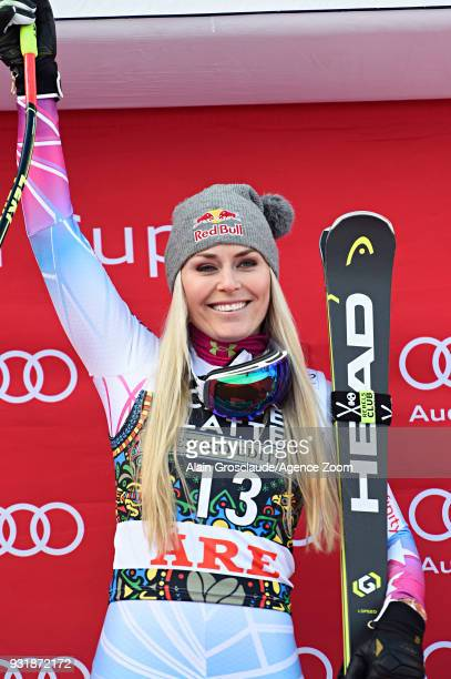 Lindsey Vonn of USA takes 1st place during the Audi FIS Alpine Ski World Cup Finals Men's and Women's Downhill on March 14 2018 in Are Sweden
