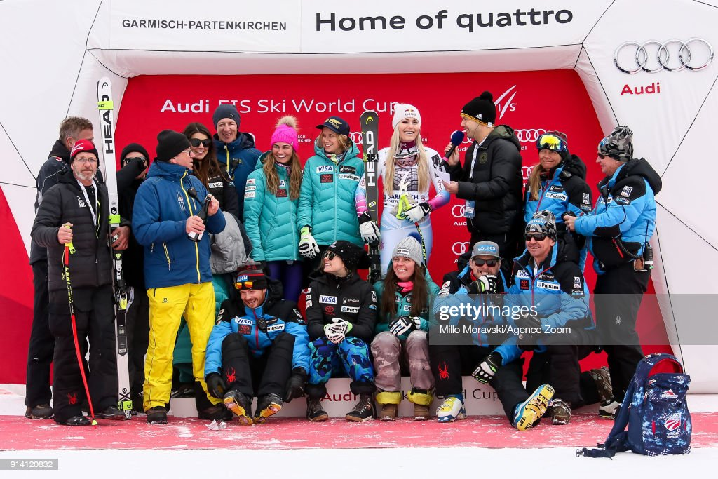 Lindsey Vonn of USA takes 1st place, Team Usa during the Audi FIS Alpine Ski World Cup Women's Downhill on February 4, 2018 in Garmisch-Partenkirchen, Germany.
