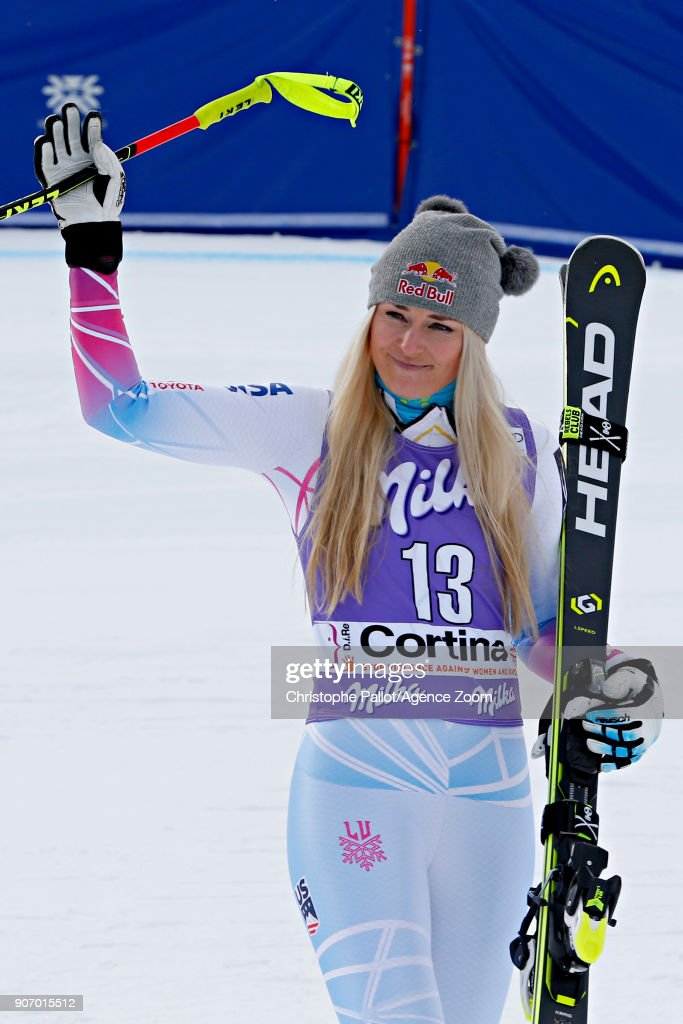 Lindsey Vonn of USA takes 2nd place during the Audi FIS Alpine Ski World Cup Women's Downhill on January 19, 2018 in Cortina d'Ampezzo, Italy.