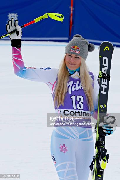 Lindsey Vonn of USA takes 2nd place during the Audi FIS Alpine Ski World Cup Women's Downhill on January 19 2018 in Cortina d'Ampezzo Italy