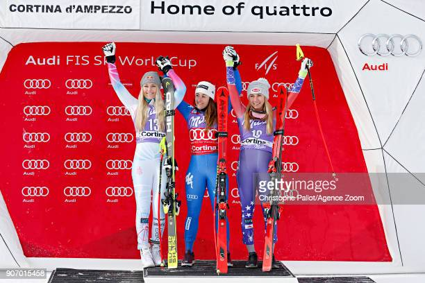 Lindsey Vonn of USA takes 2nd place Sofia Goggia of Italy takes 1st place Mikaela Shiffrin of USA takes 3rd place during the Audi FIS Alpine Ski...