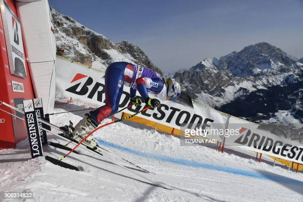 Lindsey Vonn of USA takes part in a training session on the eve of the FIS Alpine World Cup Women's Downhill replaces Val d'Isere event on January...
